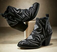 8 Ninety Union Sedona Bootie Black Rhinestone Western Country Cowgirl Ankle Boot