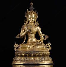 Special Antique Tibetan Gold Gilt Bronze Vajrasattva Buddha Statue Buddhism