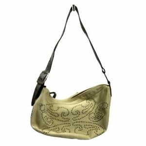Hype Genuine Leather Trim 100% Cotton Hobo Bag Handbag Shoulder Sz Medium Beige