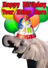 elephant Party Card codeee Birthday A5 Personalised Greeting card