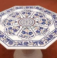 40'' Marble With Stand Lapis Mosaic Table Top Dining Inlaid Kitchen Decor H3745