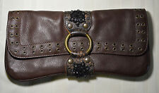 Vintage Betsey Johnson Brown Leather Beaded Clutch