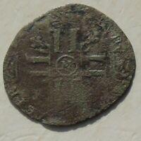 1692-1696 Louis XIV France Silver 15 Deniers 17thC Coin 19mm, 1.14g, worn