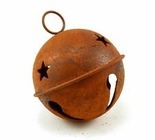 65mm 2.5 inch Large Giant Rusty Jingle Bell with Stars 1 Piece