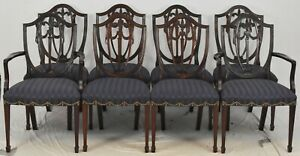 Set of 8 Kindel Winterthur Collection Mahogany Shield Back Dining Chairs