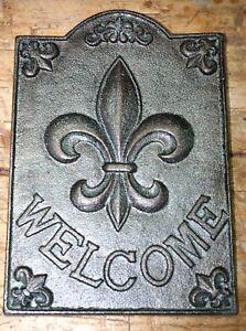 Large Cast Iron FLEUR DE LIS WELCOME Plaque Finial Garden Sign Home Decor GREEN