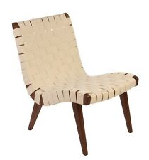 Jens Risom Inspired Lounge Chair in Medium Ash Wood with White Webbing