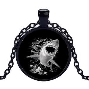 Vintage Shark Black Cabochon Glass Necklace chain Pendant