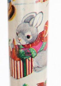 Vintage New 1997 Cleo Bunny Wood Animals Christmas Wrapping Paper Roll 45 sq ft