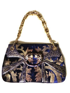GUCCI 2004 GOLD & PURPLE VELVET & ALLIGATOR SHOULDER BAG BY TOM FORD - RARE