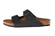 BIRKENSTOCK Mens Arizona 2 Strap Slide Sandals Black Birko-Flor P5179 US 8 8.5 - EU 41 Regular