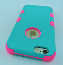 """TURQUOISE PINK REINFORCED RUGGED TUFF CASE COVER FOR APPLE IPHONE 6 6S 4.7"""""""