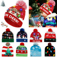 LED Christmas Beanie Knit Hat Light Up Tree Xmas Snowman Knitted Cap Adult Kids