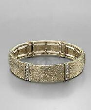 Leather Look Gold Tone Crystal Stretch Bangle BraceletFashion Jewelry