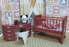 Plasco CRIB Renwal BABY DOLL Vintage Dollhouse Furniture Miniataure Plastic 1:16