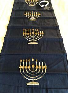 """Pottery Barn Hanukkah Menorah Tablerunner 18""""x 90"""" Navy Sequin Design Gold/Silvr"""