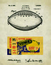 Iowa Hawkeye Football 1939 Ticket Stub Patent Poster Nile Kinnick Stadium PAT233
