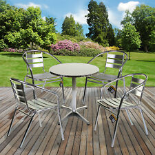 Bistro Table Square Chrome Aluminium Bar Pub Party Cafe Garden Patio Outdoor