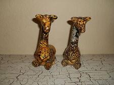 "Set Of 2 La Vie Ceramic Patchwork 7.25"" Giraffes Safari Print Africa"