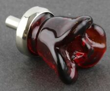 Ruby Red Glass Flower Rose Cabinet Knob Drawer Pull