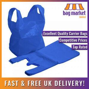 "Blue 16 Micron Plastic Carrier Bags   11"" x 17"" x 21""   Supermarket/Shopping"