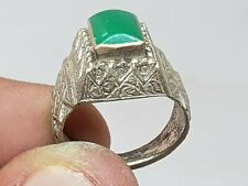 ANCIENT LATE MEDIEVAL SILVERED RING GREEN STONE INTAGLIO 7,6 GR 19 MM IN