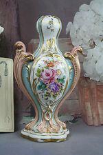 French PARIS porcelain dans le gout de sevres Vase lamp base flowers 1940's
