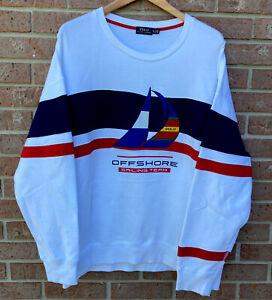 Polo Ralph Lauren OffShore Sailing Team Crewneck Sweat Shirt White Men Size XL