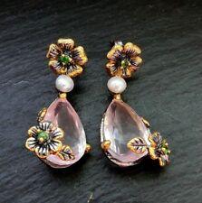 Rosenquarz & Perle Blumen Ohrringe 925 Sterlingsilber rhodiniert O531