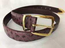 Vtg Purple Ostrich Leather Belt Gold Buckle Womens 34 36 Western Golf Equestrian