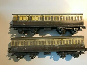 2 Poor unboxed Hornby O Gauge No2 GWR coaches Brake