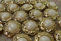"""12 Beautiful Large Flower Shaped Gold &Ivory Plastic Shank Buttons 37mm 1.5"""" 966"""