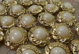 """10 Beautiful Large Flower Shaped Gold &Ivory Plastic Shank Buttons 37mm 1.5"""" 966"""