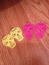 Halloween Costume Fancy Dress Earrings Bershka Skeleton Skull Neon Pink Yellow