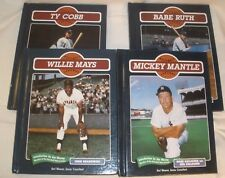 LOT of 4 Books Legendary Baseball Players Mickey Mantle Cobb Mays Babe Ruth EUC
