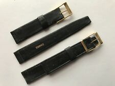 Vintage Tissot 18/16mm Black  Leather Strap RG Buckle