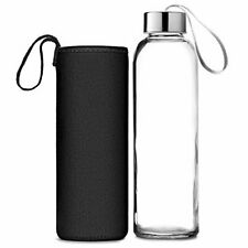 Glass Water Bottle with sleeve !!!2 Pack!!! 16oz Bottles For beverages and Juice