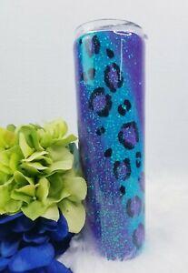 Leopard /Cheetah print Custom handmade glitter stainless steel Tumbler 30 oz.