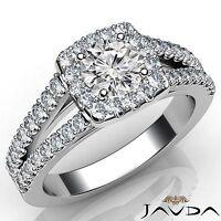1.46ct Round Cut Diamond Engagement GIA F VS2 14k White Gold Halo Prong Set Ring