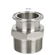 SANITARY 1-1/2″ × 2″ NPT MALE ADAPTER 304S/S CLAMP END DAIRY TRI CLOVER <SAN044