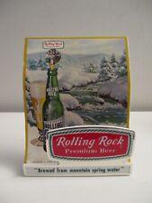 Vintage Rolling Rock Premium Beer Plastic Stand Up Bar Table Sign Nos!