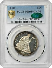 1881 50c PCGS/CAC PR 64+ CAM - Low Mintage Date - Liberty Seated Half Dollar