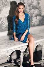 BNWT LITTLE MISTRESS TEAL LACE WRAPOVER DRESS SIZE UK 14  RRP £85 STUNNING