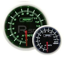Prosport 52mm Super Smoked Green / White EGT Exhaust Gas Temp gauge