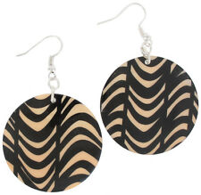 Pierced Earrings Dangle Round Shell Bold Tribal Animal Print Black Tan 2 1/2""