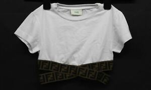 FENDI Girls White Cotton Short Sleeves Round Neck Cropped T-Shirt 8 Years NEW