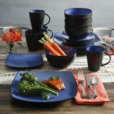 Soho Lounge Square Stoneware 16 piece Dinnerware Set Plates Bowls Mugs Blue Home