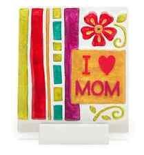 I Love Mom Plaque Glass Fushon Lori Siebert Demdaco # 2020141069