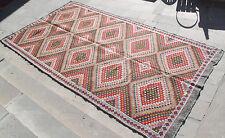 Turkish Kilim Rug 74''x139'& #039; Hand Woven Adana Cicim Kilim 190x355cm