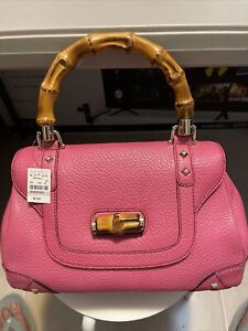 GUCCI Brown Bamboo Handle Convertible Tassels Handbag Pink Authentic